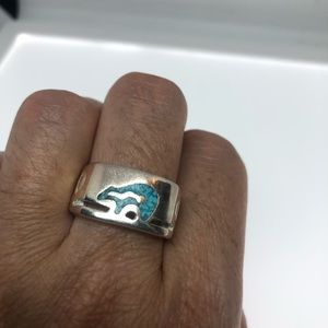 VINTAGE TURQUOISE INLAY BEAR MENS RING